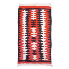 Early 20th Century Red, White, and Brown Navajo Rug