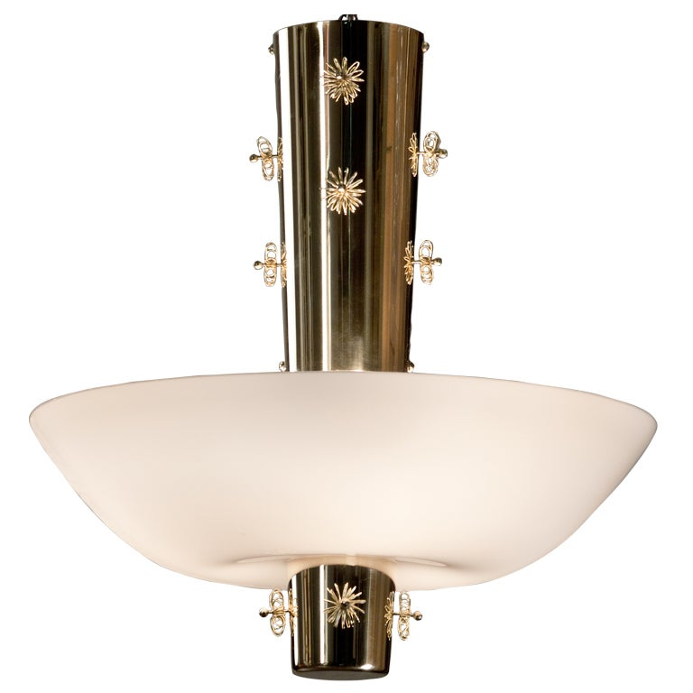 A Brass and Opaline Glass Chandelier by Paavo Tynell