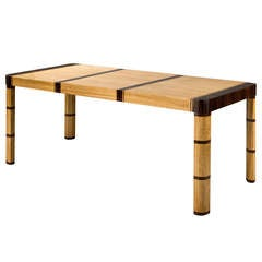 An Elm & Macassar Extendable Dining Table by Otto Schulz