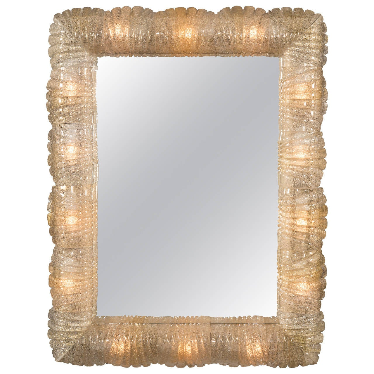 Barovier and Toso, a Murano Illuminated Rugiadoso Glass Mirror