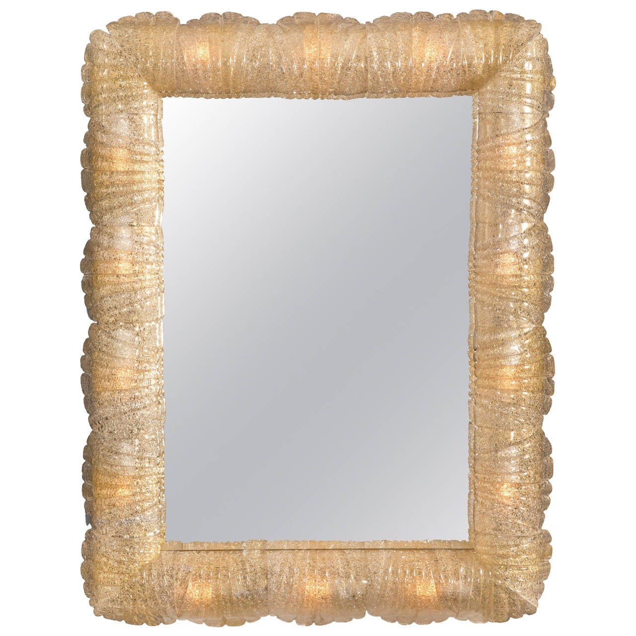 Barovier and Toso, Murano Illuminated Rugiadoso Glass Mirror