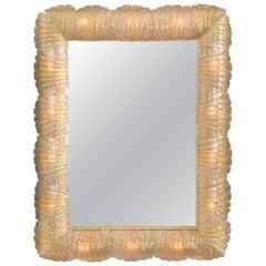 Barovier and Toso, Murano Illuminated Rugiadoso Glass Mirror