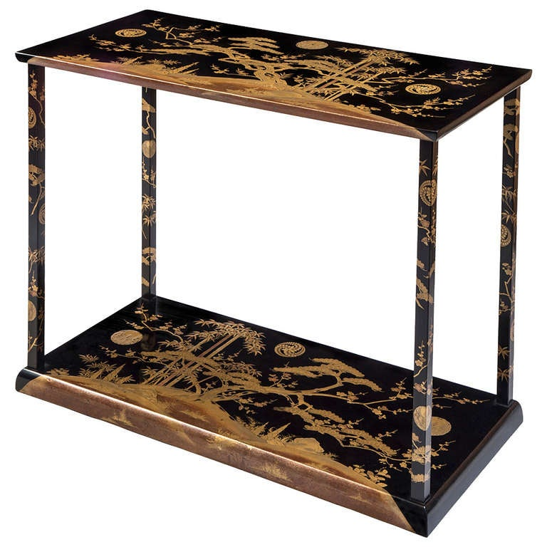 A Rare And Unusual Japanese Black And Gold Lacquer Console / Table For Sale
