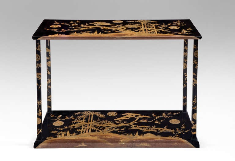 A Rare and Unusual Japanese Black and Gold Lacquer Console Table
