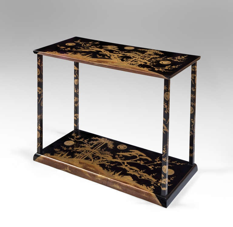 a rare and unusual japanese black and gold lacquer console table 2