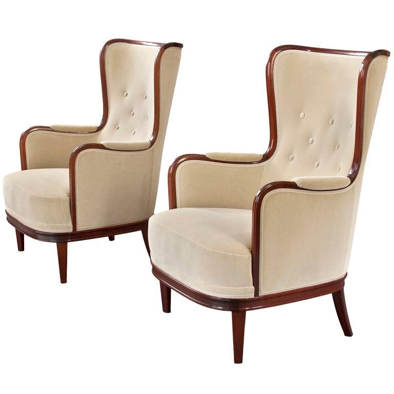 Large Pair of Mahogany Wingback Chairs by Carl Malmsten at 1stdibs