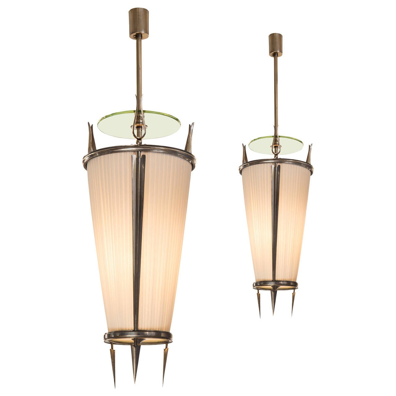 Paolo Buffa for Donzelli, a Pair of Silvered Bronze Lanterns