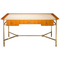Jacques Adnet: A Brass and Ceylon Satinwood Desk
