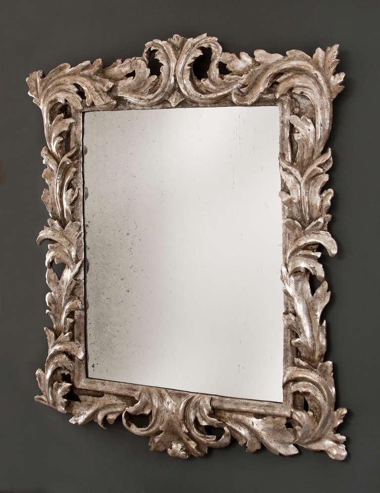 An italian baroque foliate carved silvered wood mirror at for Baroque mirror