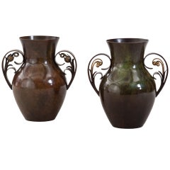 A Complementary Pair of Danish Patinated Bronze Vases by Ildfast