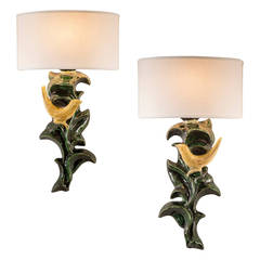 Paul Pouchol, a Pair of French Mirror-Image Faience Sconces