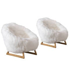 Kurt Ostervig, A Pair of Rare Danish Oak and Sheepskin Chairs