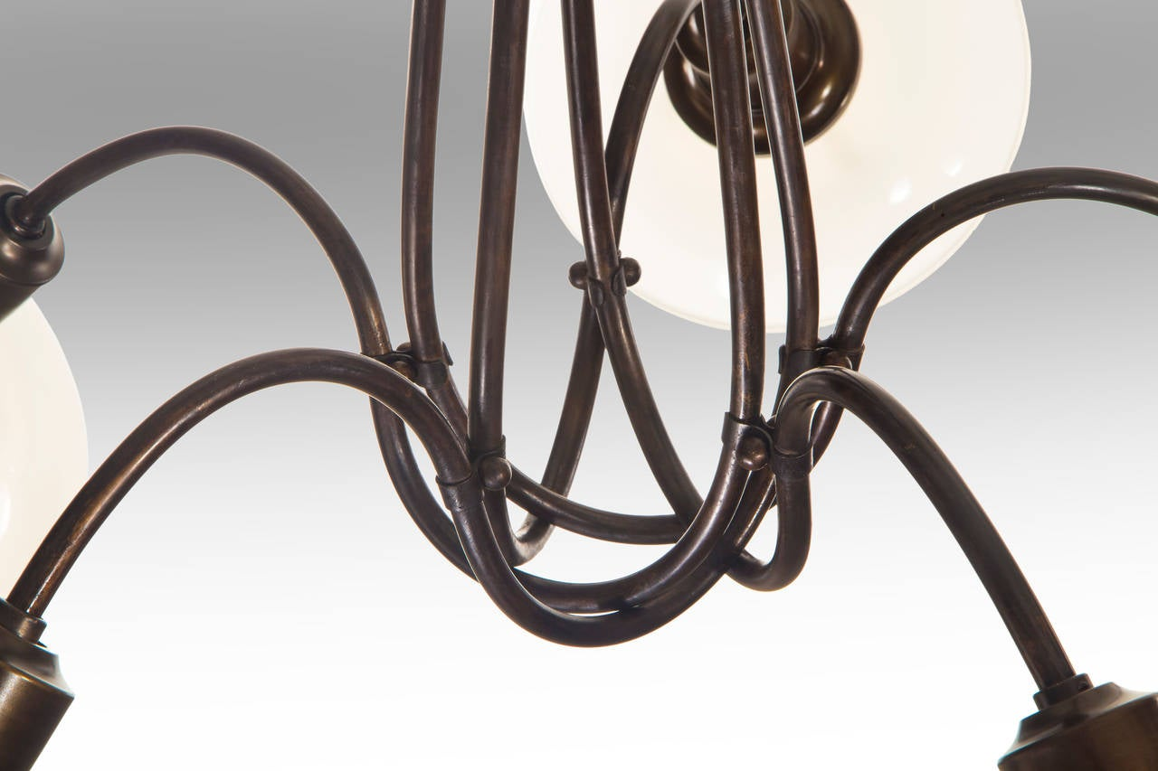 Modern Poul Henningsen, Danish Patinated Brass and Glass Five-Arm Ph Basket Chandelier For Sale