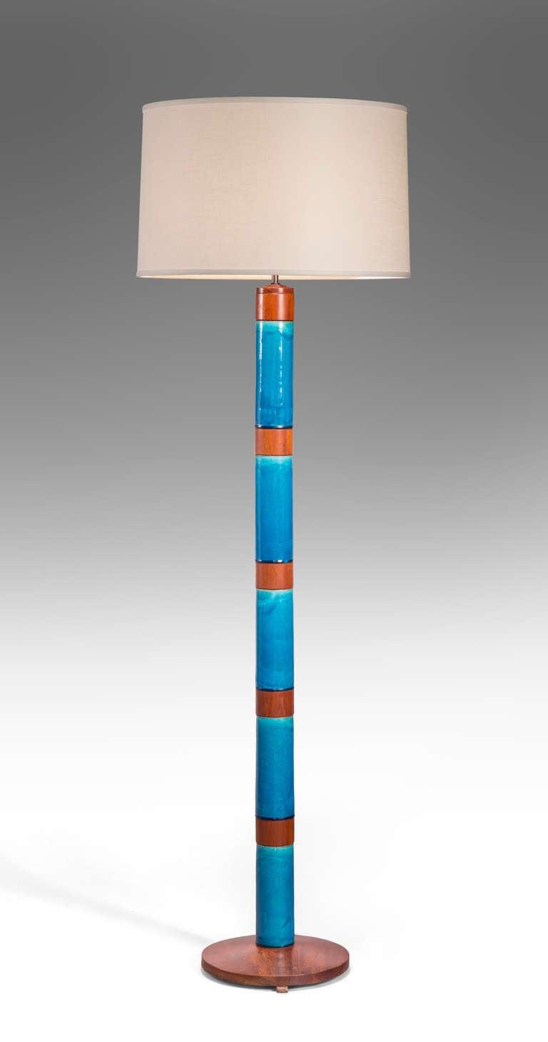 Stig Lindberg: A Rare Swedish Blue Glazed Ceramic and Teak Floor Lamp 2