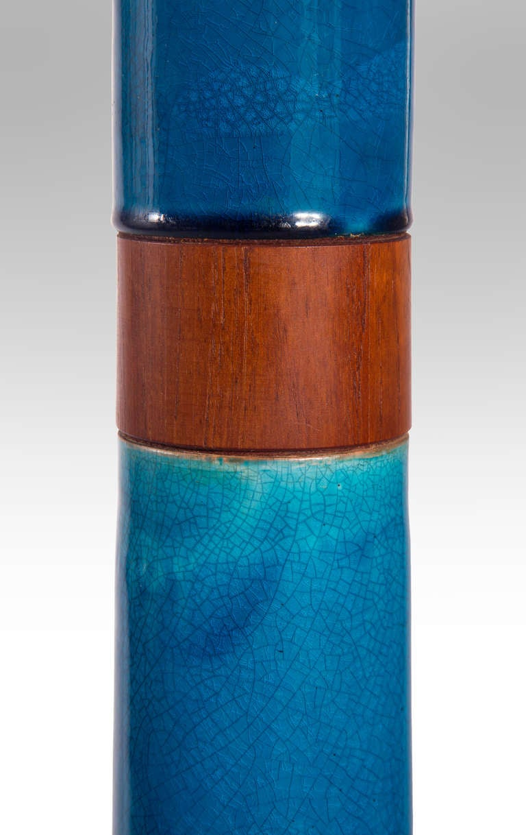 Stig Lindberg: A Rare Swedish Blue Glazed Ceramic and Teak Floor Lamp 5