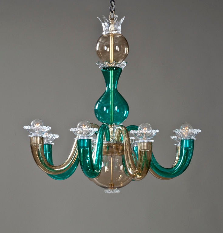 a colored glass 8 arm chandelier by gio ponti for venini