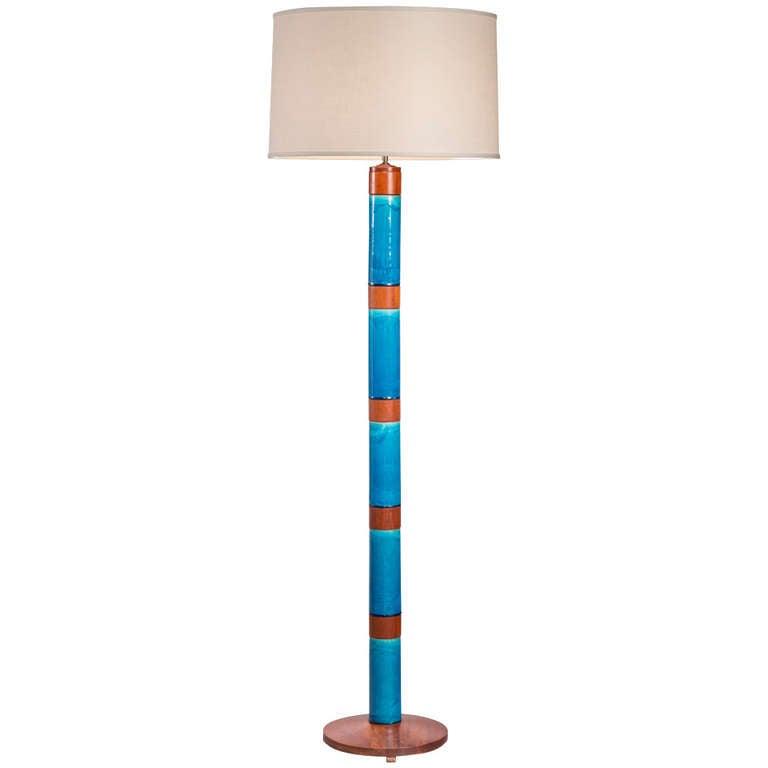 Stig Lindberg: A Rare Swedish Blue Glazed Ceramic and Teak Floor Lamp 1
