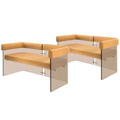 Pair of Danish Upholstered Smoked Lucite Sofas