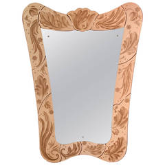 Pietro Chiesa for Fontana Arte, A Large Incised Rosambrato Glass Framed Mirror
