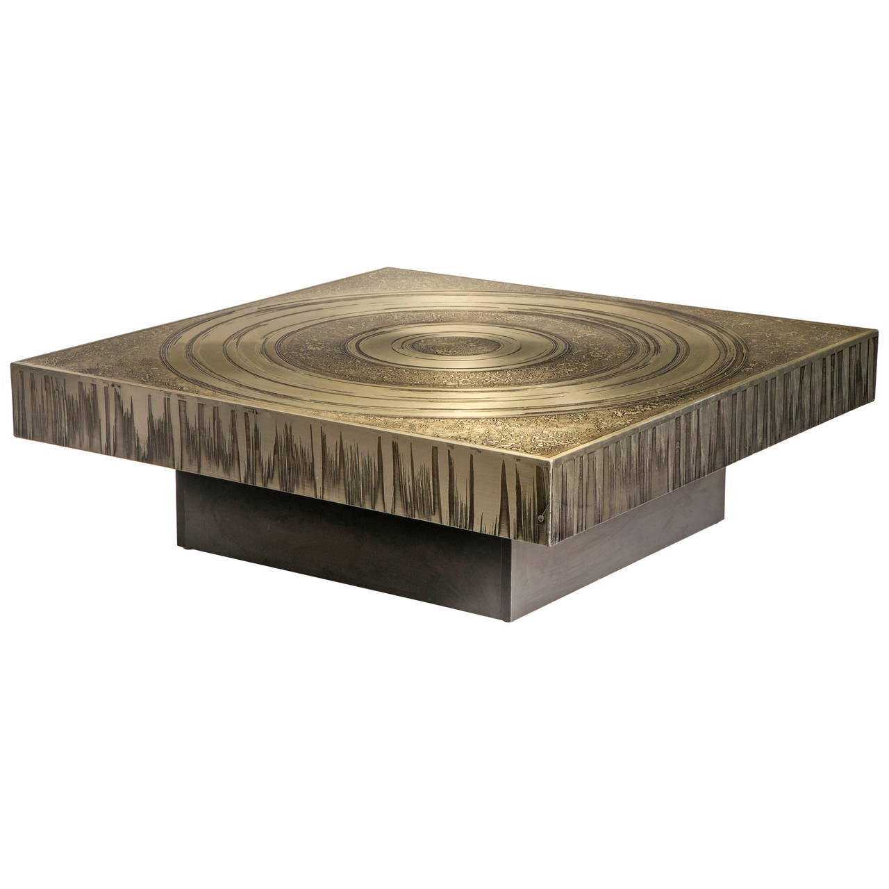 marc d 39 haenens a belgian etched aluminum coffee table at 1stdibs