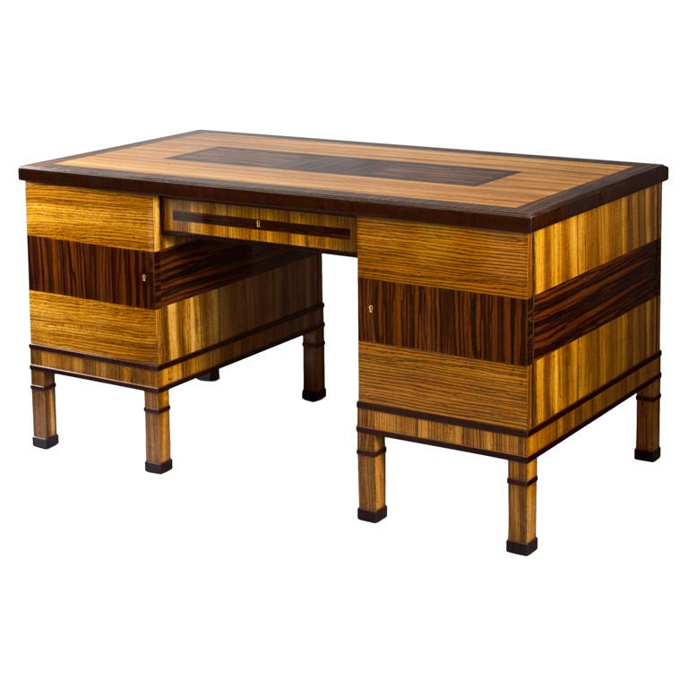 A Swedish Grace Period Zebra Wood Macassar And Rosewood Desk At 1stdibs