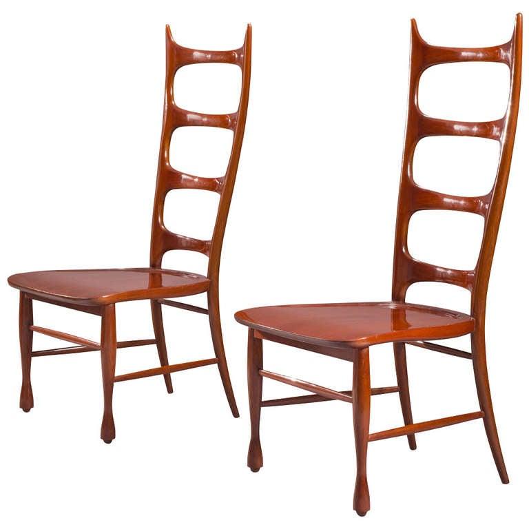 Paolo Buffa, a Pair of Mahogany Ladder-Back Chairs