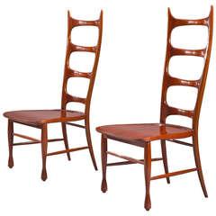 Paolo Buffa: A Pair of Mahogany Ladder-Back Chairs