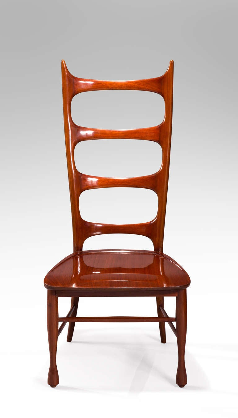 Italian Paolo Buffa, a Pair of Mahogany Ladder-Back Chairs For Sale