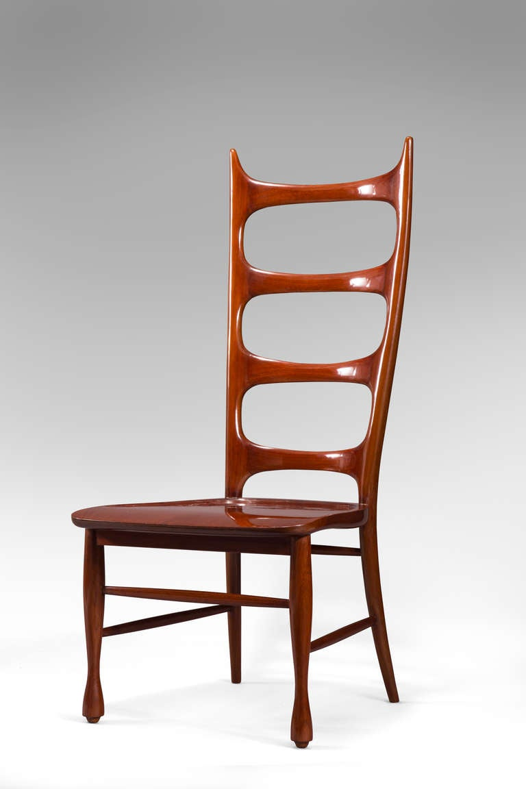 Paolo Buffa, a Pair of Mahogany Ladder-Back Chairs In Good Condition For Sale In New York, NY