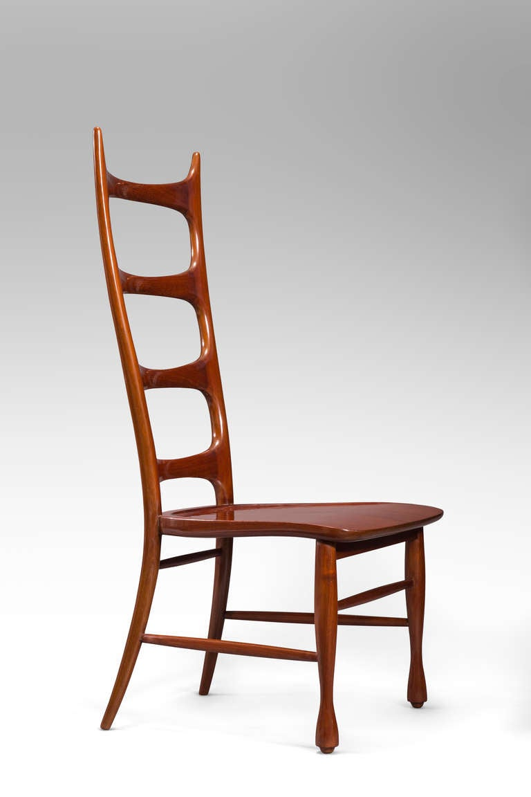Modern Paolo Buffa, a Pair of Mahogany Ladder-Back Chairs For Sale