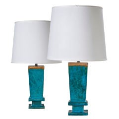 A Pair of Chinese Turquoise and Amber Glazed Vases, Now Lamps