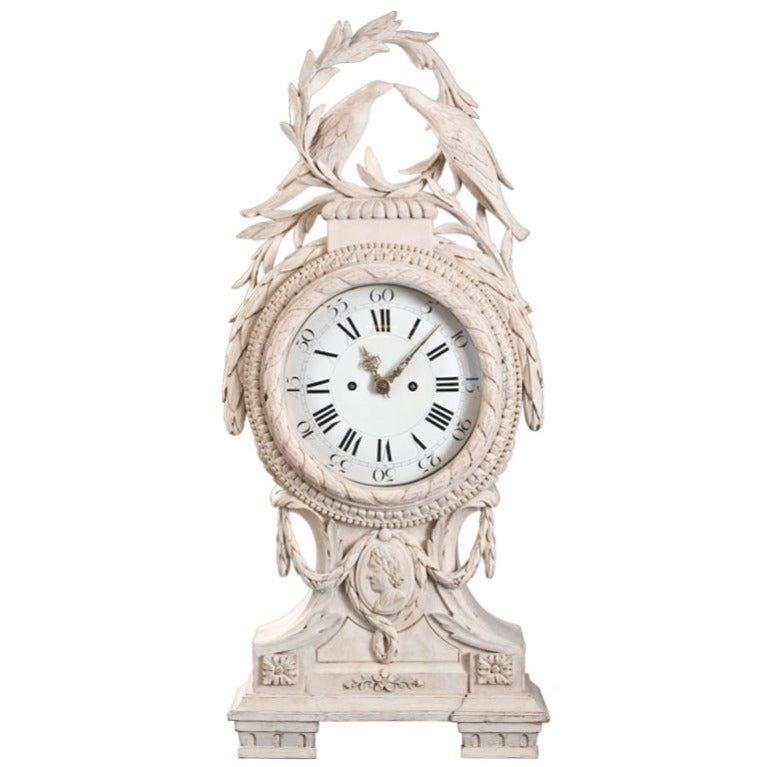 Rare danish neoclassical carved and painted wood clock at 1stdibs