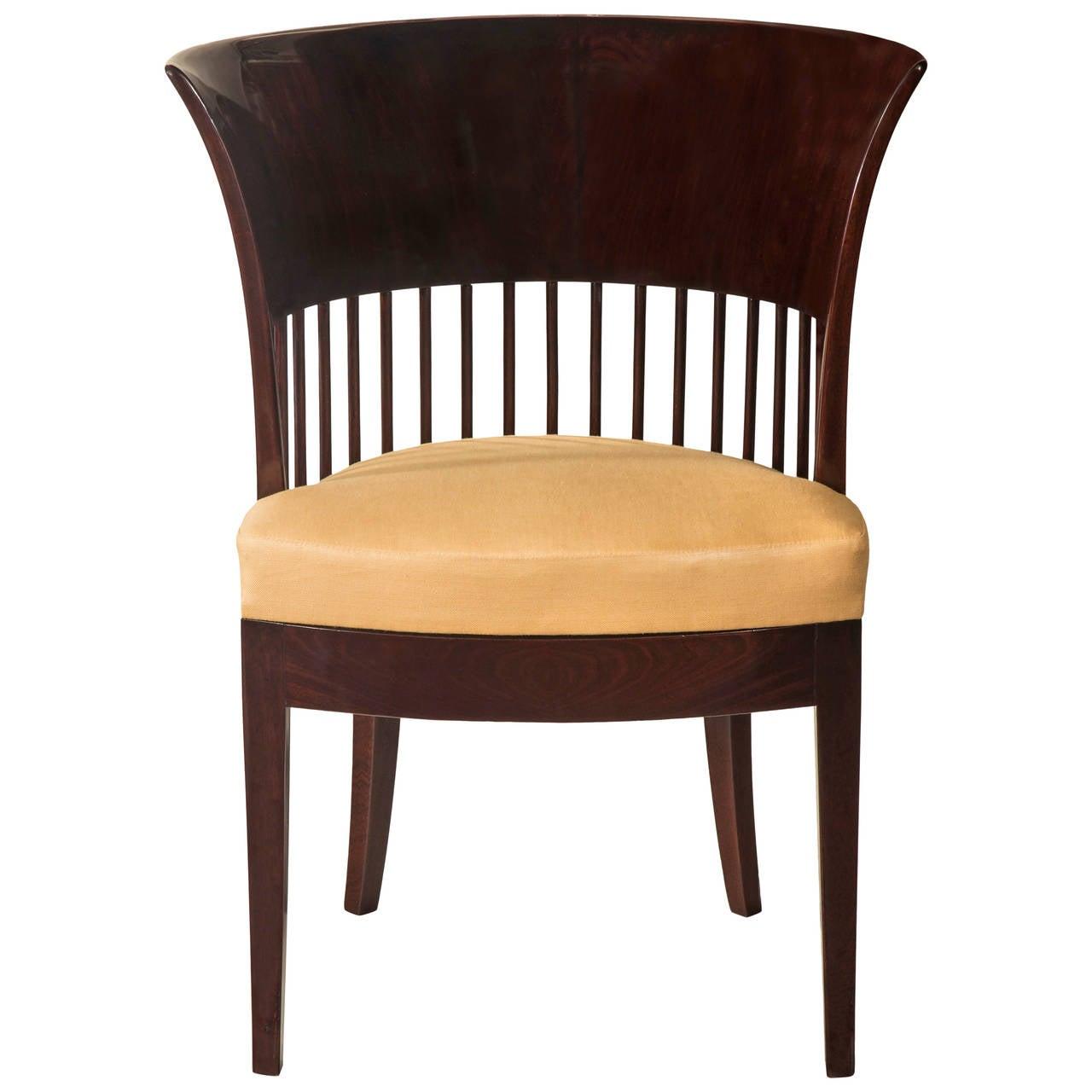 Unusual Danish Jugendstil Mahogany Chair 2