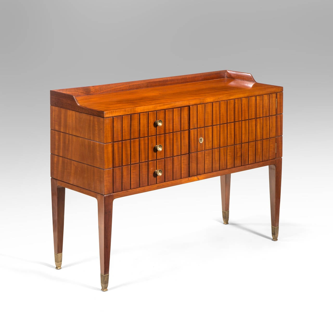 Italian Paolo Buffa, a Pair of Brass Mounted Mahogany Side Tables or Cabinets For Sale