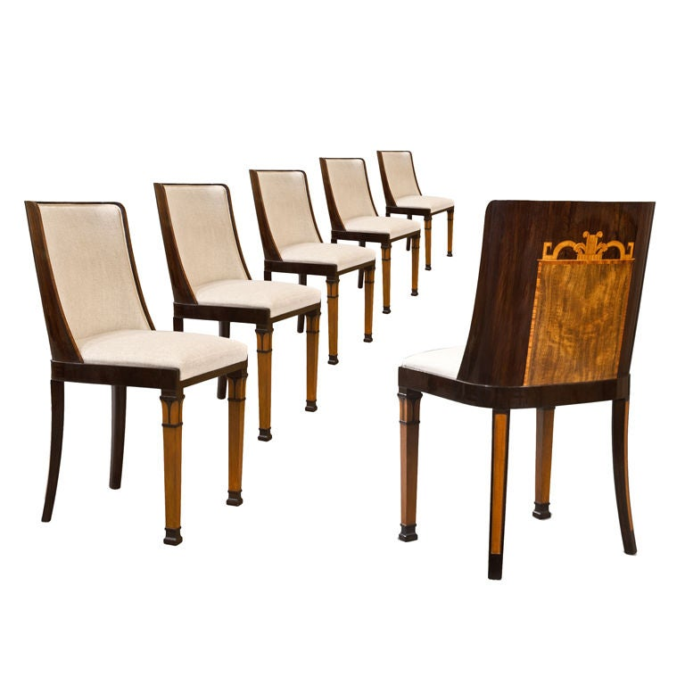 6 Goncalo Alves And Birch Chairs Attributed To Carl