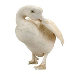 ON SALE - A Fine Japanese Ivory Okimono Goose, Signed Mitsumasa