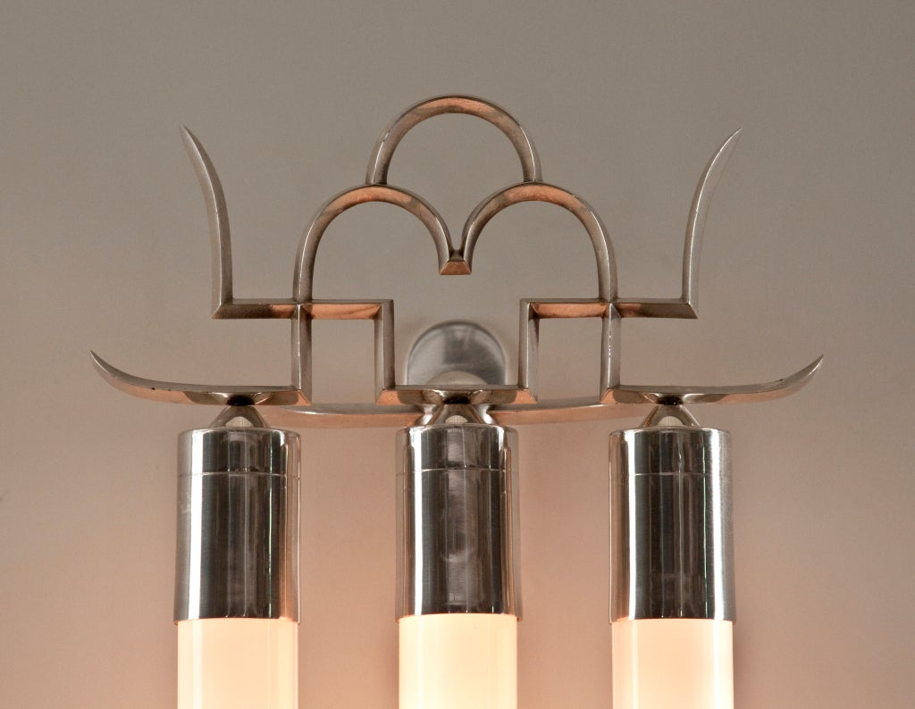 20th Century A Rare Pair of Silvered Bronze Sconces by Paolo Buffa For Sale
