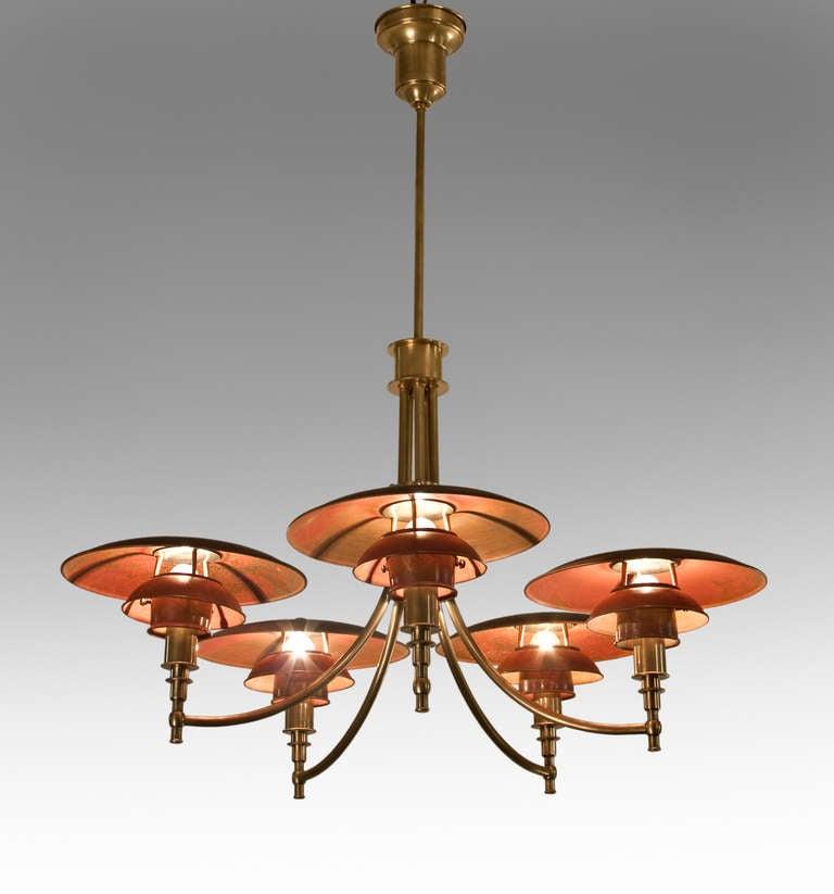 Poul Henningsen A Rare Copper Shade Ph Anchor Chandelier