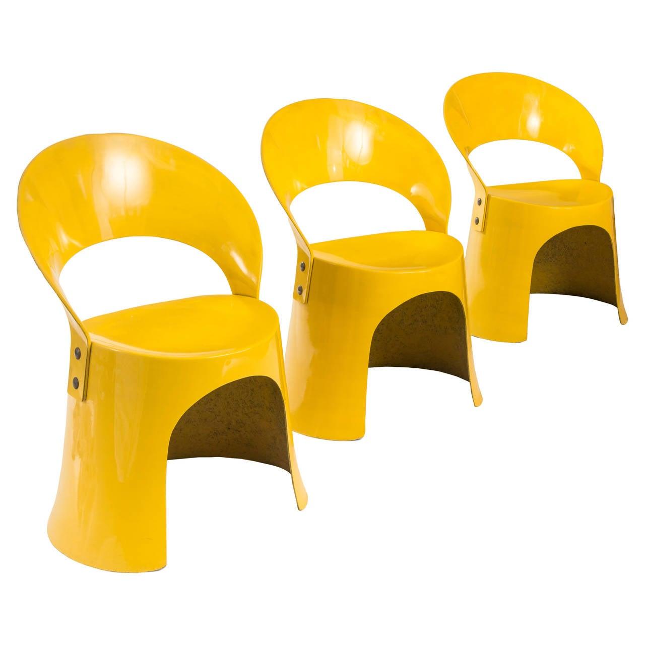 Nanna Ditzel for Oddense Maskinsnedkeri, A Rare Set of 3 Fiberglass Chairs For Sale