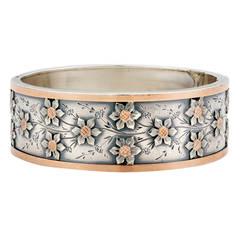 Belle Epoque Sterling Silver Rose Gold Floral Bangle