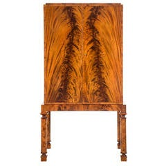 Swedish Grace Period Flame Mahogany and Marquetry Cabinet