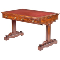 A Trestle Base Regency Mahogany Writing Table
