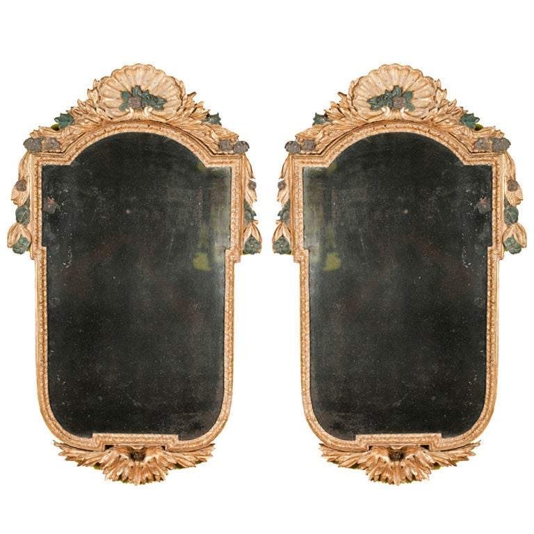 A Carved Pair Of Polychromed And Gilded Italian Girandoles