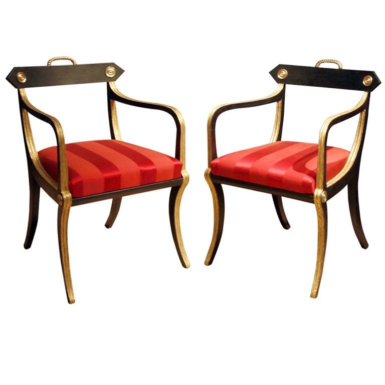 a pair of regency period klismos armchairs at 1stdibs