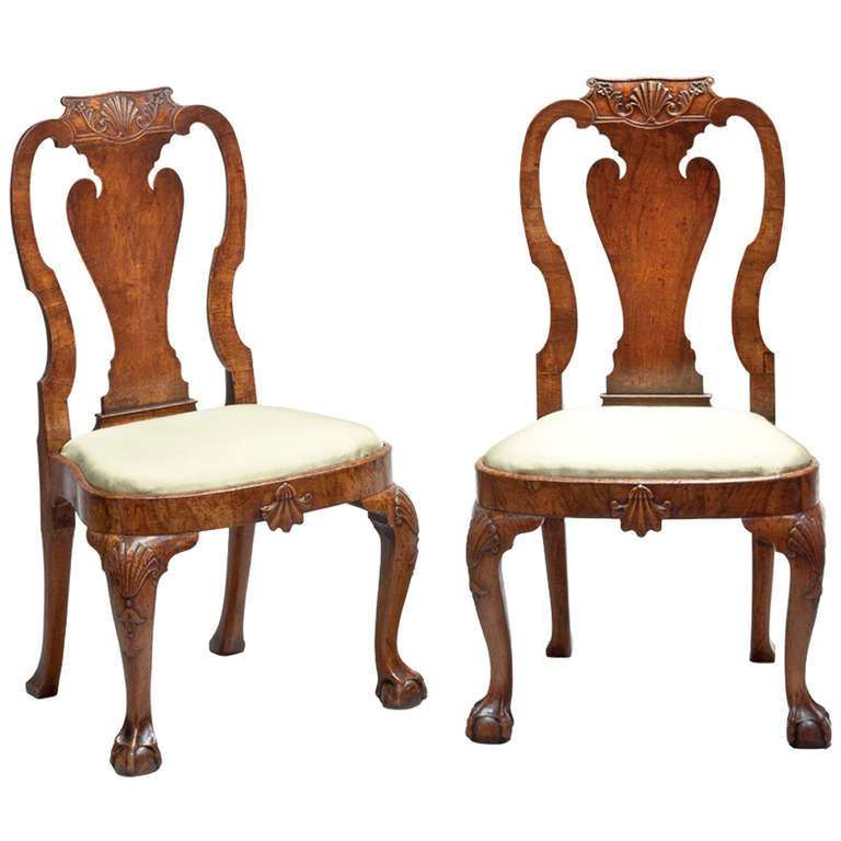 Antique chinese chippendale chair - Pair Of George Ii Carved Walnut Side Chairs In The Manner Of Giles