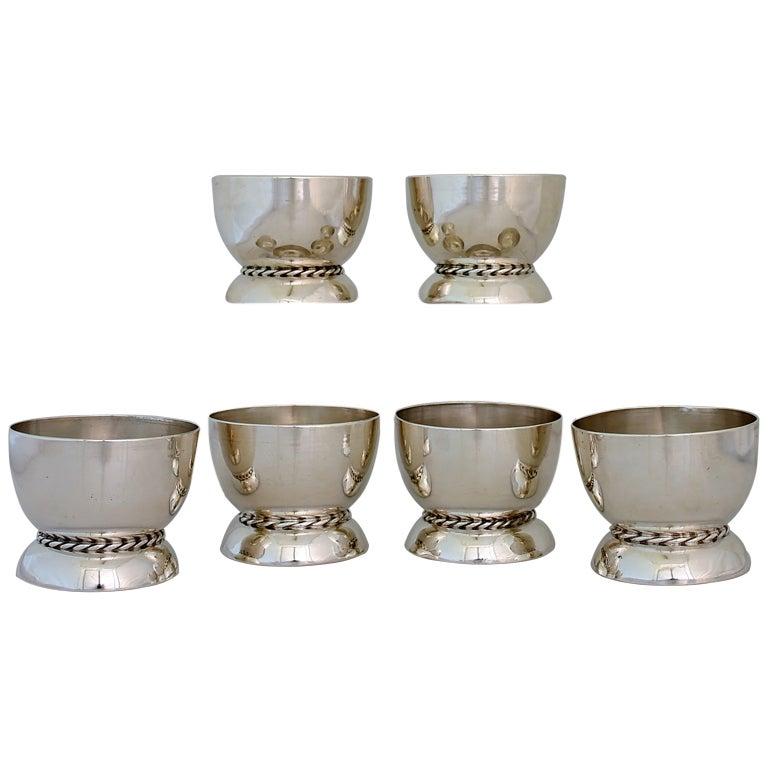 William Spratling Sterling Silver Set of 6 Dessert Cups Rope Motif