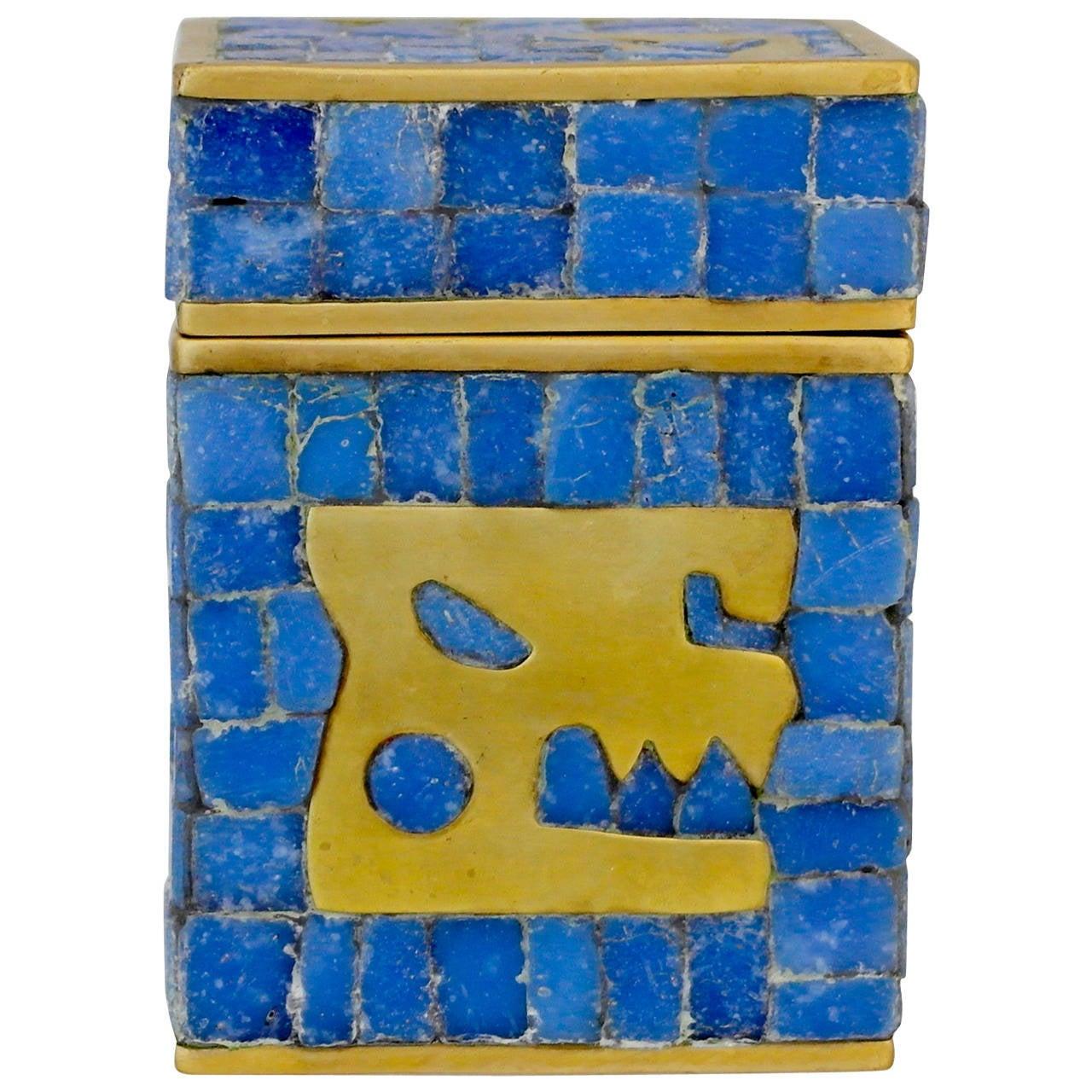 Salvador Teran Brass & Glass Mosaic Lidded Box