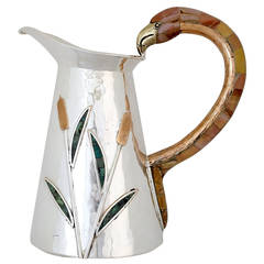 Incredible Wolmar Castillo Hand-Wrought Silver Plate Pitcher, 1990