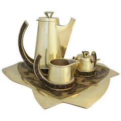 Salvador Teran Brass and Glass Mosaic Tea Set