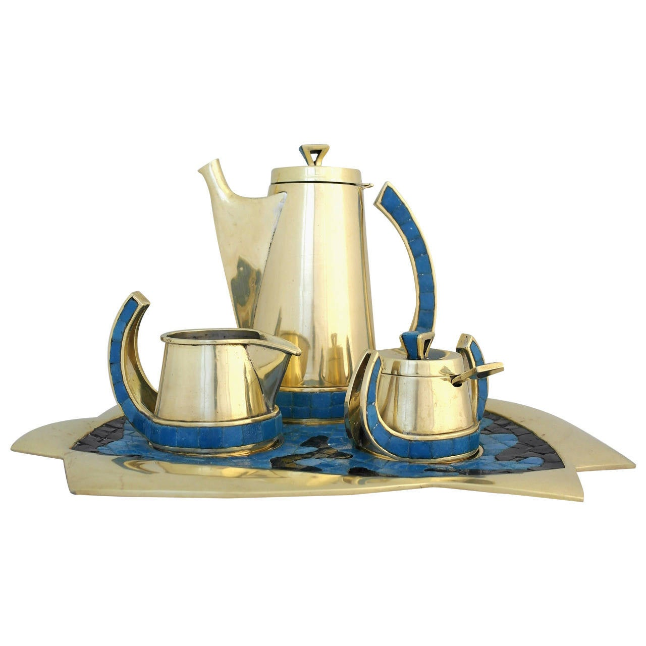 Rare Salvador Teran Modernist Coffee Service circa 1970 Hand-Wrought Brass Tile